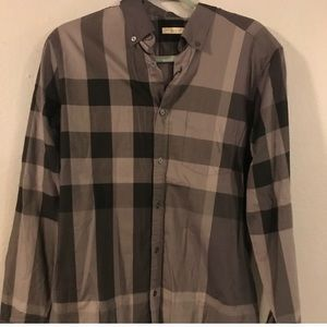 BURBERRY MENS PLAID LONG SLEEVE BUTTON UP
